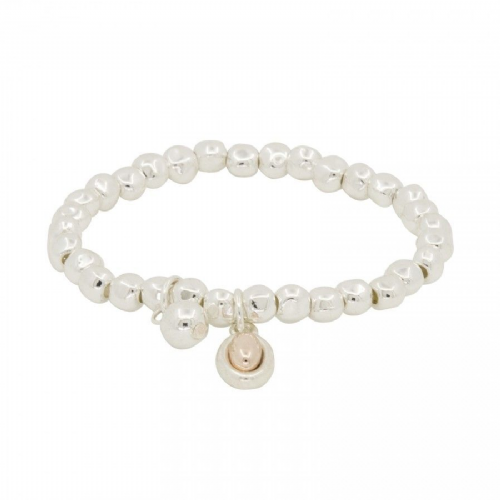 Silver Elasticated Bracelet with Rose Gold Bead